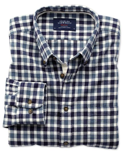 Slim fit navy and blue check brushed dobby shirt