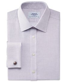 Classic fit non-iron Windsor check purple shirt