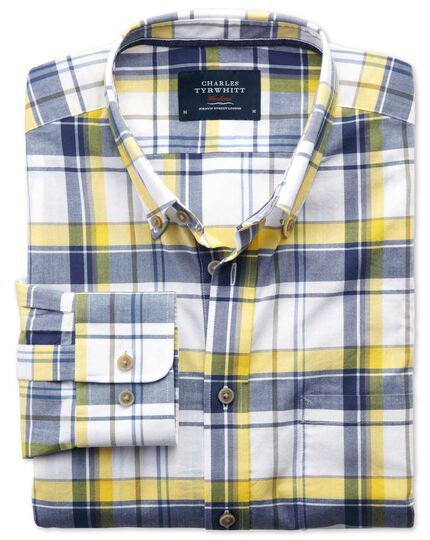 Classic fit poplin navy and yellow check shirt