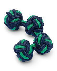 Navy and green knot cuff links