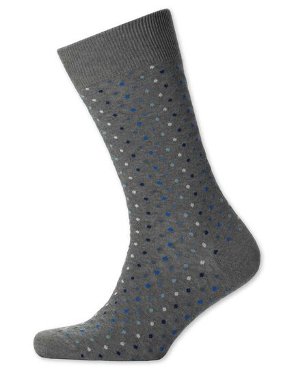 Grey multi spot socks