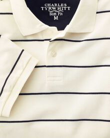 Slim fit white and navy striped pique polo