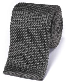 Grey silk slim knitted classic tie