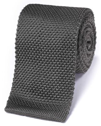 Grey silk slim knitted classic tie