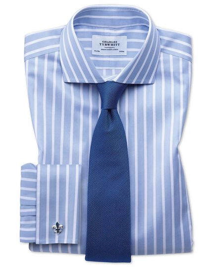 Slim fit spread collar non-iron Bengal wide stripe sky blue and white shirt
