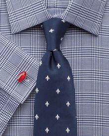 Slim fit Prince of Wales royal twill navy shirt