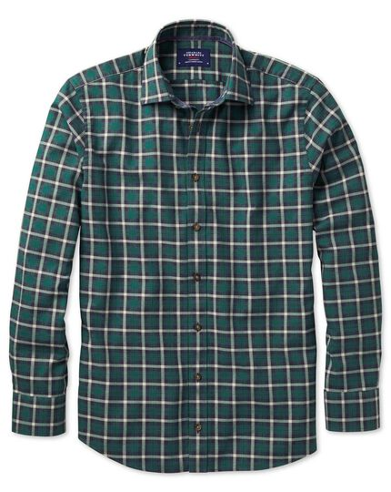 Slim fit heather tartan navy blue and green check shirt