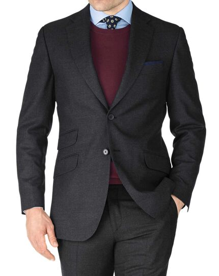 Charcoal slim fit British serge luxury suit jacket