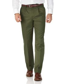 Green classic fit single pleat non-iron chinos