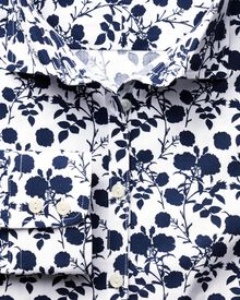Women's semi-fitted pretty floral print navy and white shirt