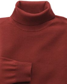 Copper merino wool roll neck jumper