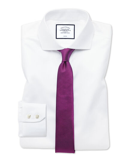 Extra slim fit cutaway collar non-iron twill white shirt