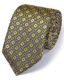 Luxuriöse englische Seidenkrawatte in gold mit geometrischem Muster