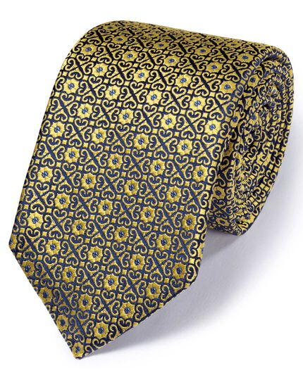 Gold silk English luxury geometric tie