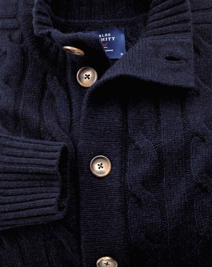 Navy lambswool cable knit cardigan
