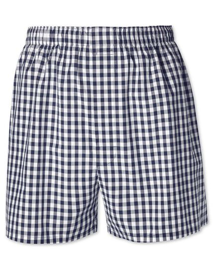 Navy gingham woven boxers