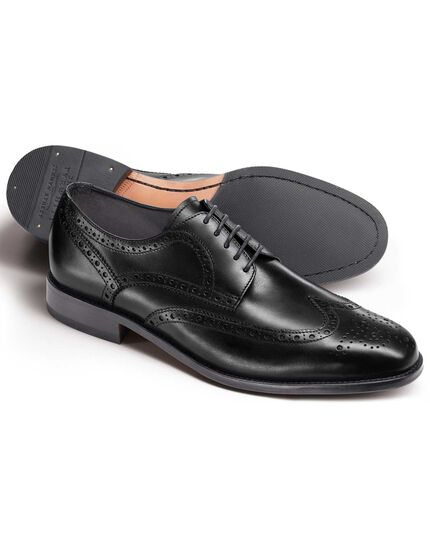 Black Hedley wingtip brogue shoes