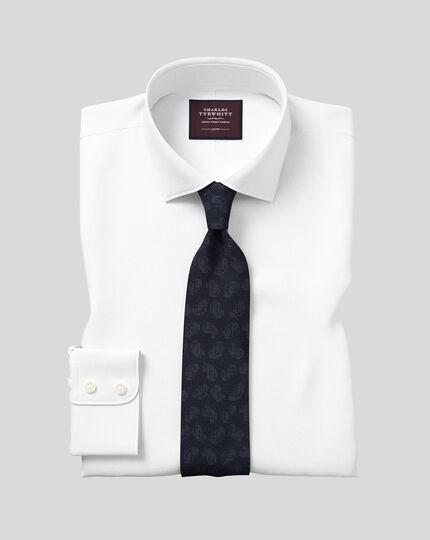 Slim fit semi-spread collar luxury twill white shirt