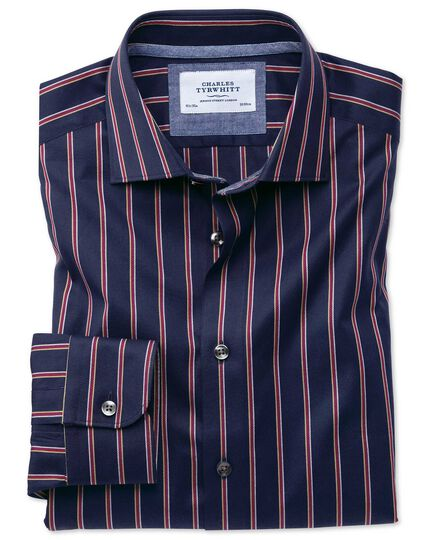 Slim fit semi-spread collar business casual boating navy and red stripe shirt