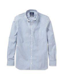 Classic fit non-iron stripe blue shirt