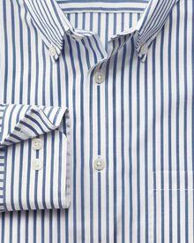 Slim fit non-iron stripe blue shirt