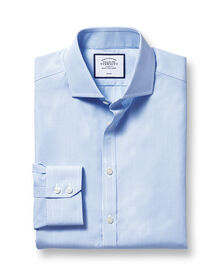 Slim fit cutaway collar non-iron bengal stripe sky blue shirt