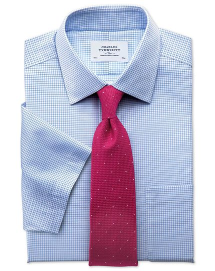 Classic fit non-iron grid check sky blue short sleeve shirt