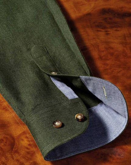 Slim Fit weiches Baumwoll-Hemd in Waldgrün