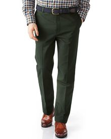 Dark green extra slim fit flat front non-iron chinos