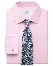 Classic fit non-iron herringbone light pink shirt