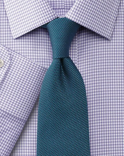 Classic fit non-iron houndstooth lilac shirt