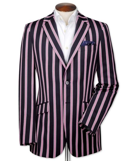 Classic fit navy and pink striped boating blazer