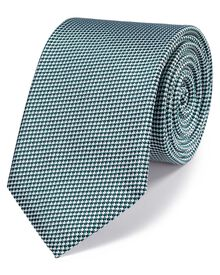 Green and white silk classic gingham check tie
