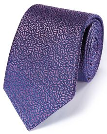 Lilac silk English luxury floral leaf tie