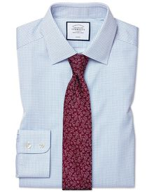 Classic fit non-iron twill mini grid check sky blue shirt