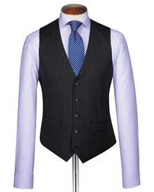 Charcoal end-on-end business suit waistcoat