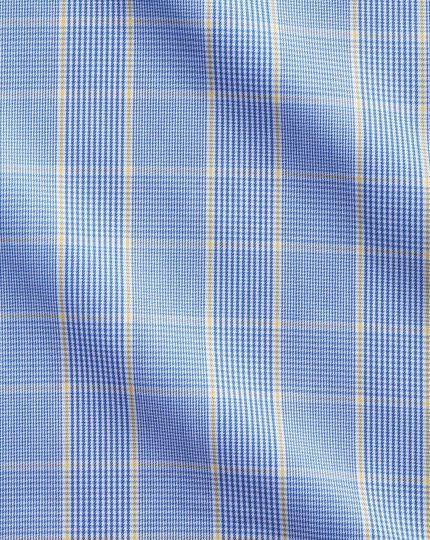Chemise bleue et or coupe droite Prince de Galles sans repassage