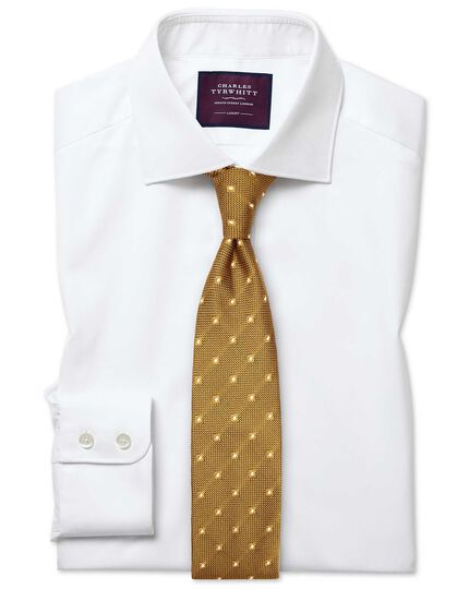 Slim fit semi-cutaway luxury twill white shirt