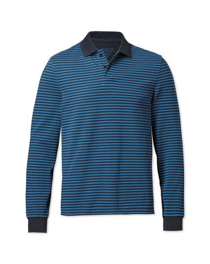 Slim fit navy and blue striped pique long sleeve polo