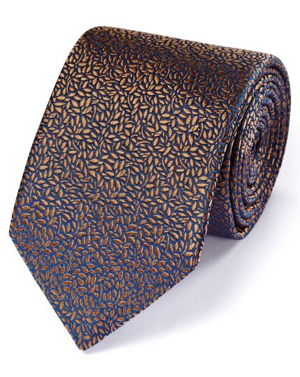 Light brown silk English luxury floral leaf tie