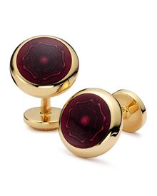 Burgundy English rose enamel round cuff links