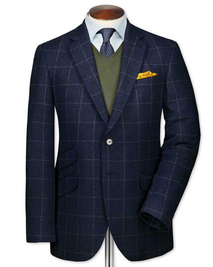Slim fit blue luxury border tweed jacket