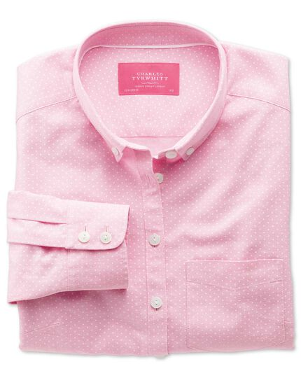 Women's semi-fitted light pink and white spot print Oxford shirt