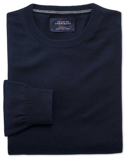 Navy cotton cashmere crew neck sweater