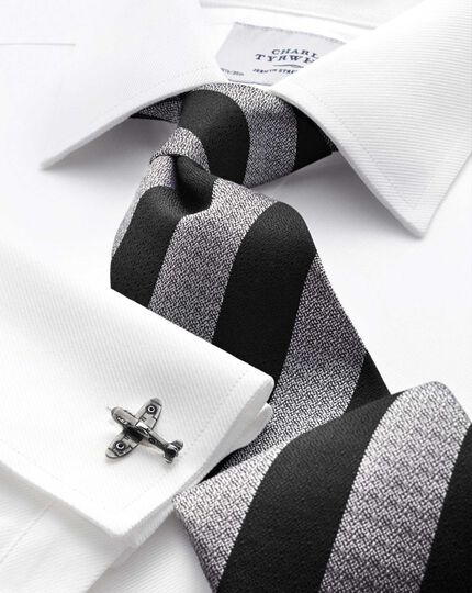 Black and white silk block stripe classic tie