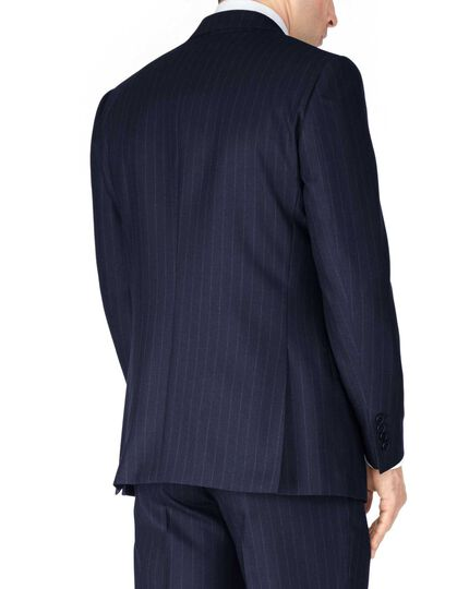 Navy stripe classic fit saxony business suit jacket