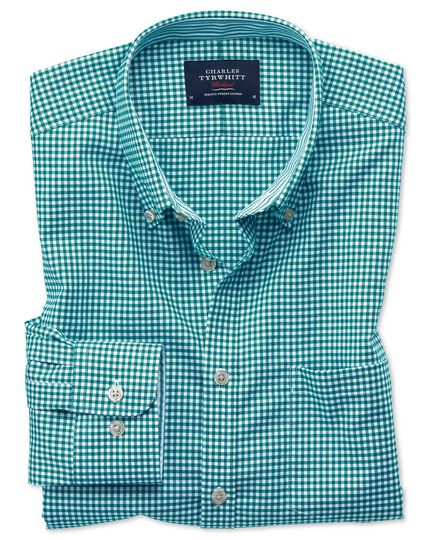 Bügelfreies Slim Fit Oxfordhemd in Grün mit Gingham-Karos
