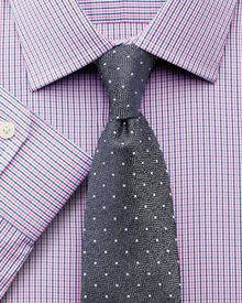 Slim fit micro gingham pink shirt