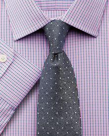 Slim fit micro gingham pink shirt