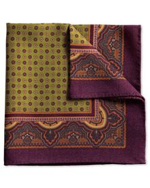 Purple and olive printed wool luxury pocket square